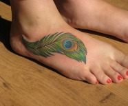 Gorgeous peacocks tattoos on legs
