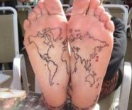 Maps tattoos on legs