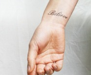 Tattoo with word believe