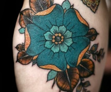 Blue adorable flowers tattoos