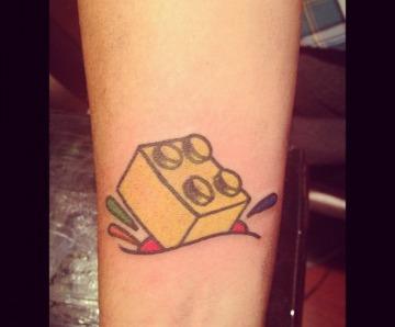 Lego brick tattoos