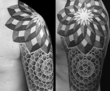 Lovely shoulders geometric tattoos