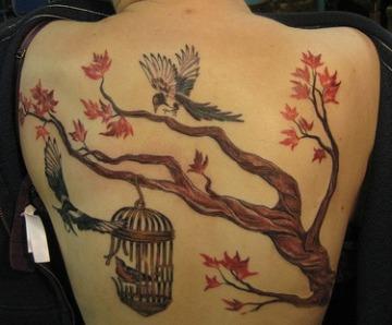 Maple tree and leaf tattoos