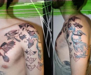 Origamis tattoos on shoulders