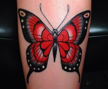 Red butterflies tattoos