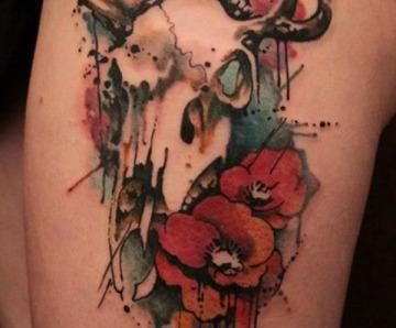 Watercolors skulls tattoos
