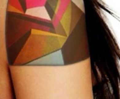 Black geometric shoulders tattoos