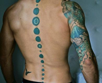 Blue men's tattoos
