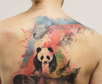 Creative panda bear tattoos