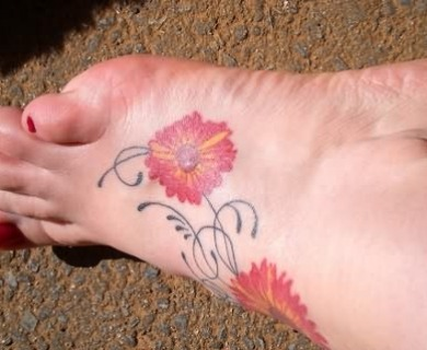 Daisy Tattoos On Foot