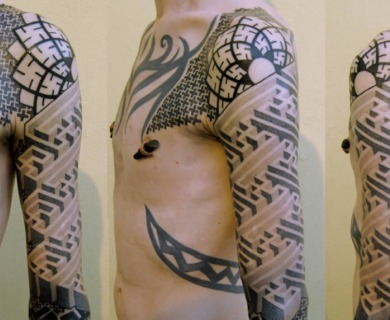 Geometric tattoo sleeves