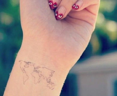 Maps tattoos on arms