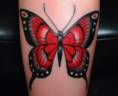 Red butterflies tattoos