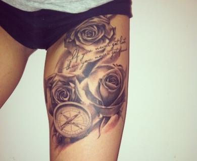 Roses tattoos on legs