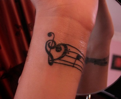 Treble Clef Heart Tattoo