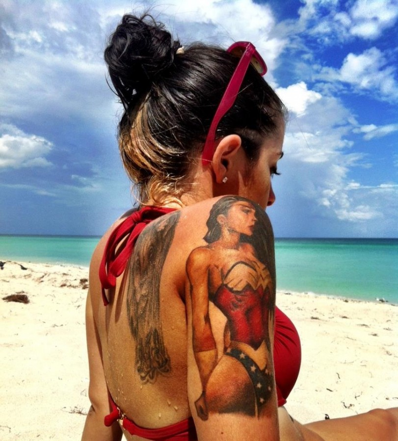Girls with tattoo summer style beach