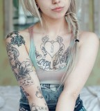 Girls with tattoo summer style cute girl