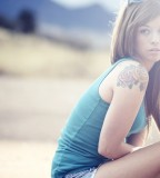 Girl tattoo blue