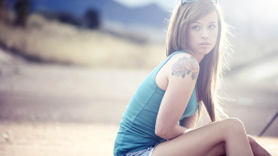 Girl tattoo blue