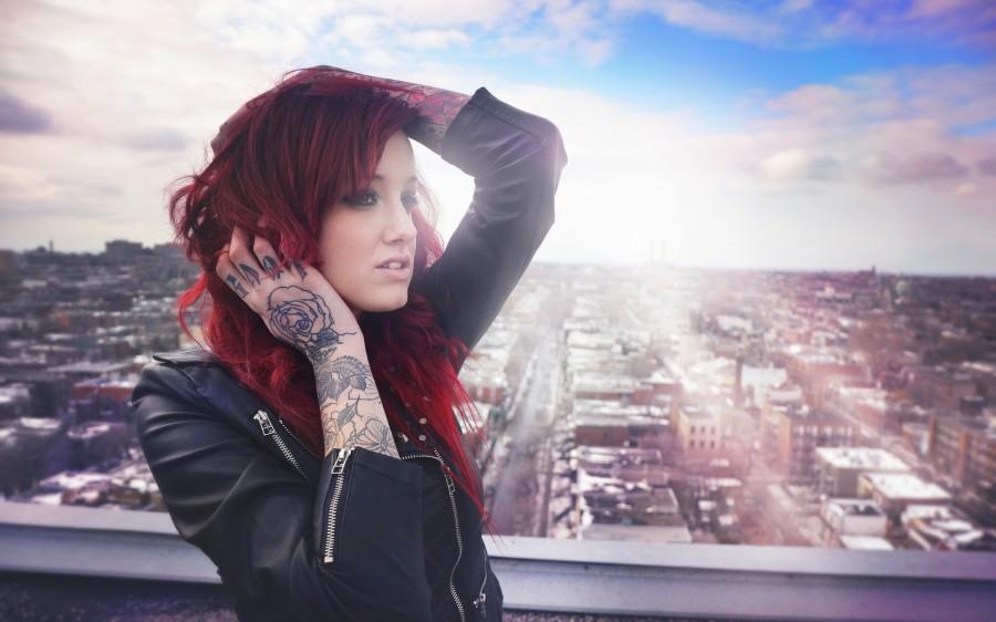 Girl tattoo red sun