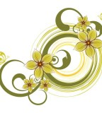 flower design green circle flowered