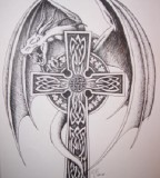 tattoo cross designs demon wings