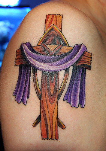 tattoo cross designs purple