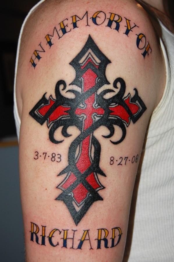 tattoo cross designs red black cross