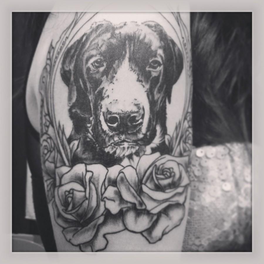 Black-and-white-dog-tattoo