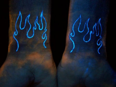 blacklight tattoo flame