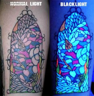 blacklight tattoo like stained glass