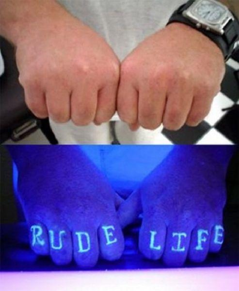 blacklight tattoo rude life
