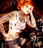 red hair girl tattoo retro girl