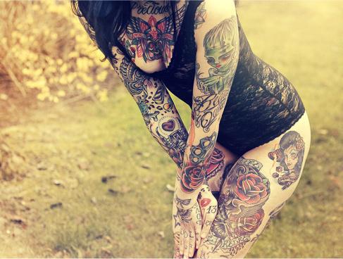 all body tattoo for woman black maillot