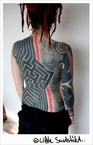 all body tattoo for woman geometrical by little swastika