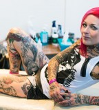 all body tattoo for woman girl with bright pink hair