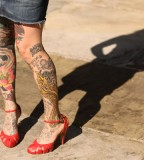 all body tattoo for woman red high heels