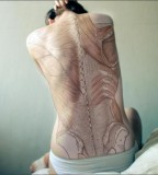 anatomical tattoo  full back bones and muscles