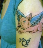 animal rights tattoo flying pig