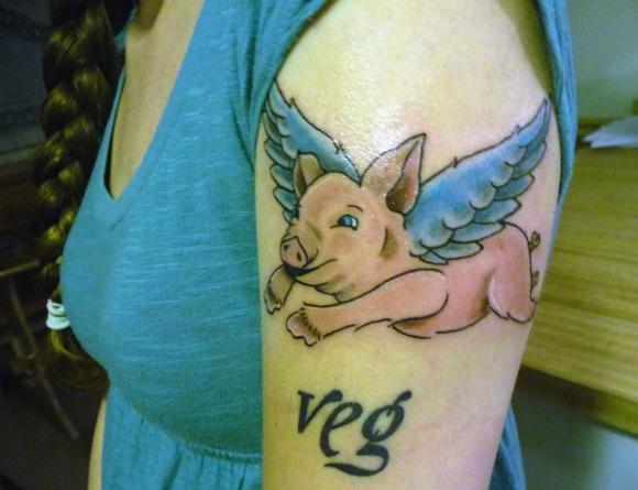 animal rights tattoo flying pig