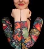 animal rights tattoo fruit sleeves