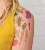 animal rights tattoo vegetables shoulder tattoo