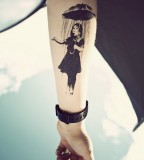 banksy graffiti tattoo black work girl with umbrella