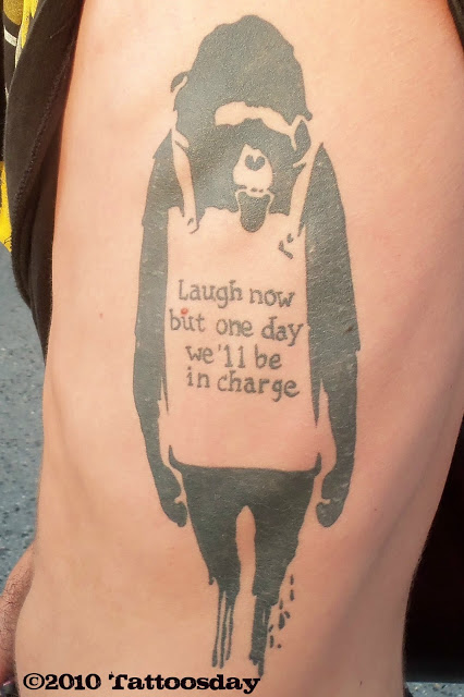 banksy graffiti tattoo monkey laugh now but one day we'll be in charge