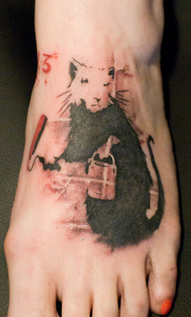 banksy graffiti tattoo painting rat