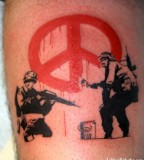 banksy graffiti tattoo soldiers peace