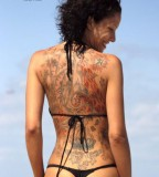 beach girl tattoo full back tattoo black bikini
