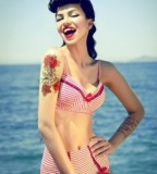 beach girl tattoo retro girl roses on hand