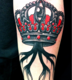 crown tattoo balck and red mystic eye