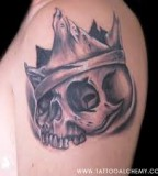 crown tattoo skeleton head